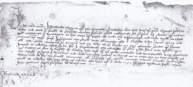 Will of Richard Chayne, 1537 (reproduced by permission of the Berkshire Record Office, cat ref: D/A1/51/189)