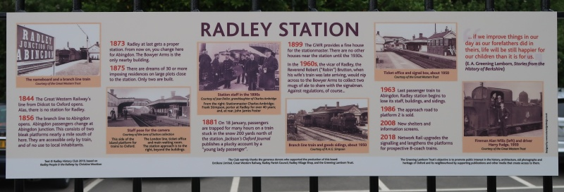 Information board featuring a timeline of Radley Stationory of Radley Station