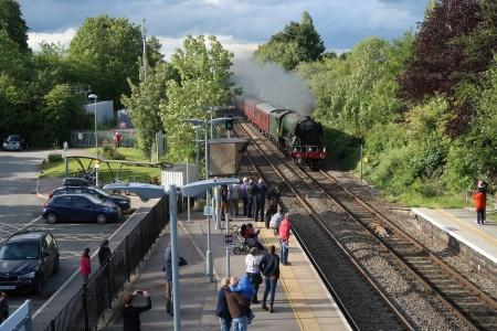 Steam engine Flying Scotsman approaching Radley Station