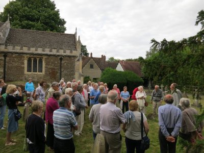Start of the tour with the church and the vicarage in the background