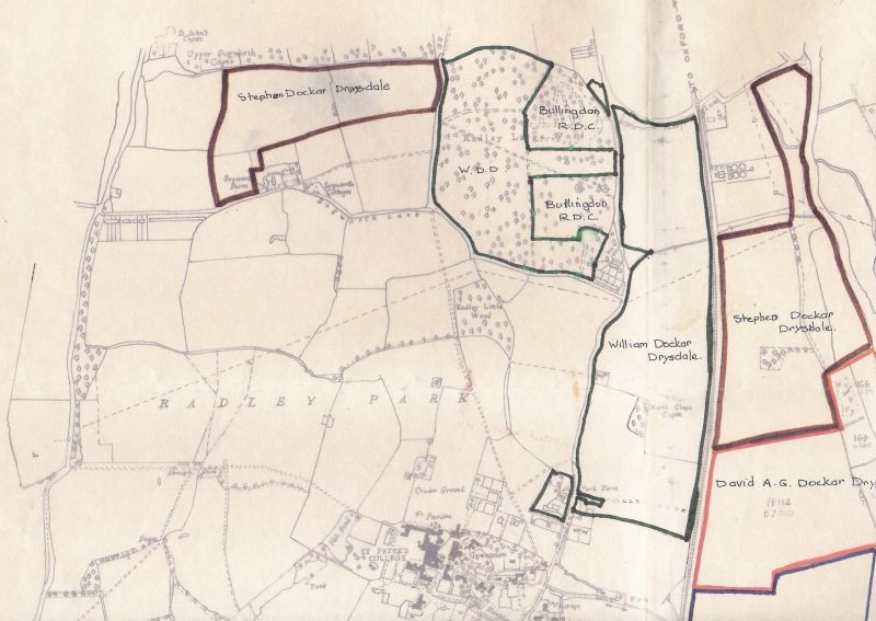 Map showing land in north Radley wned by members of the Dockar-Drysdale family in 1944