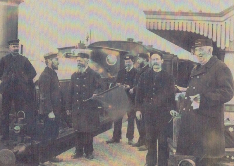Charles Ambridge (stationmaster) and staff pictured at Radley Station in the 1890s