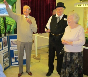 Richard Tolley opens the railway exhibition (pictured alongside the master of ceremonies, Eric Blanks, and Club chairman, Christine Wootton