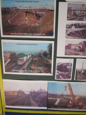Display of photographs showing the replacement of the bridge to Lower Radley in November 1983idge in