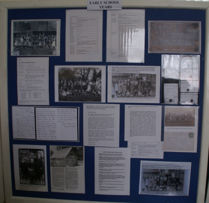 Display board about the early years of the school