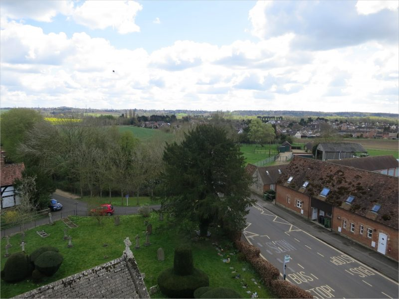 View of the central part of Radley from the church tower - one of a series of photographs taken in April 2016
