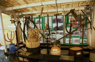 Display of old farming implements at the exhibition