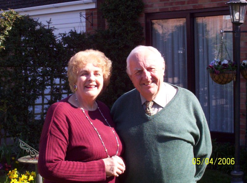 Valerie snd Brian Mott pictured in their front garden in Radley in August 2006