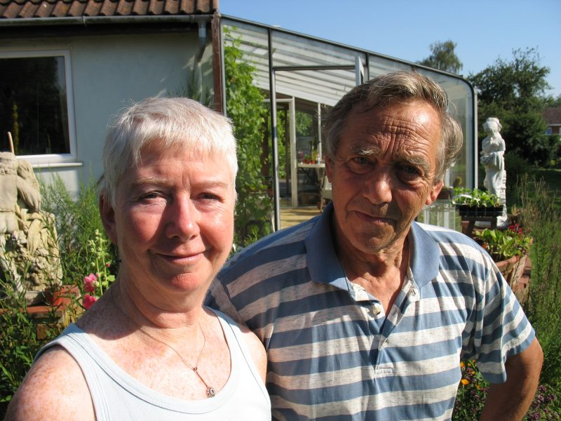 Denis and Jenny Standen pictured in their garden in Lower Radley, August 2006