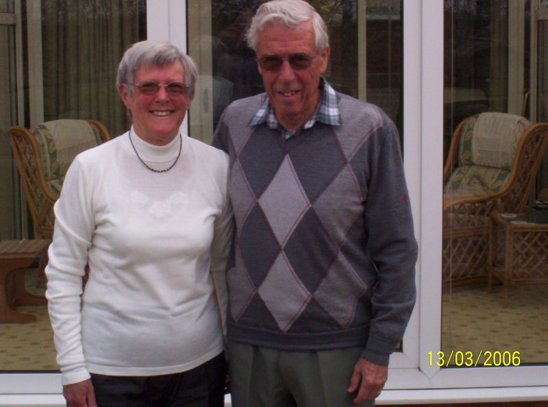 Eric and Joy Riley pictured in their garden in Radley in March 2006