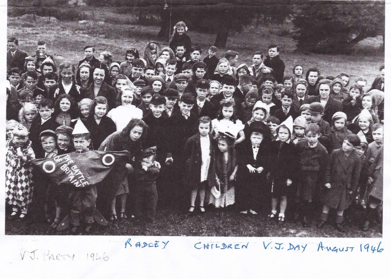 Photo of children's fancy dress party held to commemorate VJ Day in August 1946 [sic]