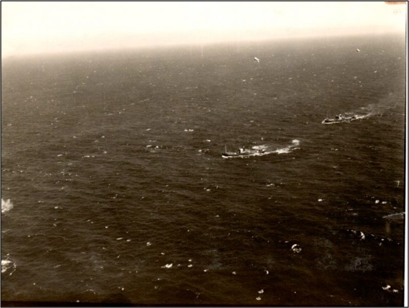 A picture taken by Christine's uncle of a German convoy in the North Sea he was about to bomb