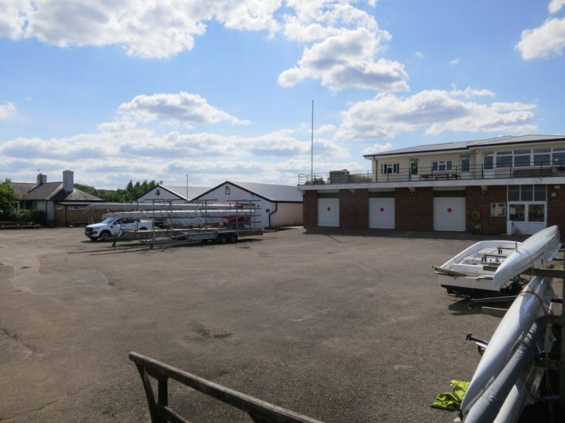 Scene at the Radley College boathouses on the River Thames at Radley in August 2021
