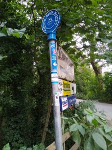 Signpost to Sustrans National Cycle Route 5 by Thrupp Lake, Radley, August 2021